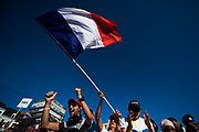 June 13-18, 2017. 24 hours of Le Mans. Fans wave the French flag during the driver's parade