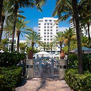 Back door to the beach of the luxury Loews hotel in Miami Beach, Florida