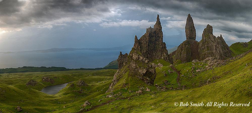 Scottish Highlands mountain ascent at Old Man of Storr