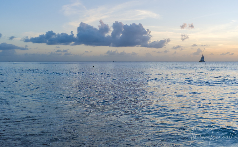 Sunset viewed from the Western shore of Barbados, in the Caribbean Sea