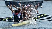 """Henley-on-Thames. United Kingdom.  2017 Henley Royal Regatta, Henley Reach, River Thames. <br /> The Thames Challenge Cup. Thames """"A""""  splash and celebrate winning the final<br /> <br /> 16:08:36  Sunday  02/07/2017   <br /> <br /> [Mandatory Credit. Peter SPURRIER/Intersport Images."""