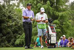 May 5, 2018 - Charlotte, NC, U.S. - CHARLOTTE, NC - MAY 05: Phil Mickelson looks at the 14th fairway during the 3rd round of the Wells Fargo Championship on May 05, 2018 at Quail Hollow Club in Charlotte, NC. (Photo by William Howard/Icon Sportswire) (Credit Image: © William Howard/Icon SMI via ZUMA Press)