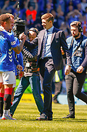Rangers Manager Steven Gerrard celebrates with James Tavernier (C) of Rangers FC during the Ladbrokes Scottish Premiership match between Rangers and Celtic at Ibrox, Glasgow, Scotland on 12 May 2019.