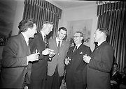 19/2/1966<br /> 2/19/1966<br /> 19 February 196<br /> <br /> Mr. J.J. Boyle(2nd from right) Director and General Manager Shell and Albatros Ltd. chatting with Mr. Hugh Ryan (2nd from left)President of Macra na Feirme ; Mr. Herbert Gow(left) from Limerick; Mr. Michael J. Noonan (centre) and Mr Paddy Maher at the reception