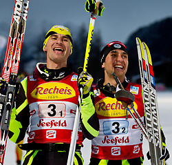 16.12.2011, Casino Arena, Seefeld, AUT, FIS Nordische Kombination, Team Sprint 2* 7.5 km, im Bild Sebastien Lacroix (FRA) // Sebastien Lacroix of France und Janson Lamy Chappuis (FRA) // Janson Lamy Chappuis of France Sieger des Team Bewerb during Team Sprint 2* 7.5 km the team competition at FIS Nordic Combined World Cup in Sefeld, Austria on 20111211. EXPA Pictures © 2011, PhotoCredit: EXPA/ P.Rinderer