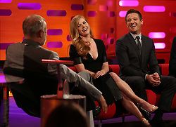 Amy Adams and Jeremy Renner during the filming of The Graham Norton Show at the London Studios in London, to be aired on BBC1 on Friday evening.