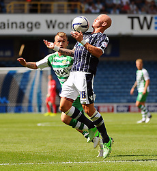 Millwall's Richard Chaplow brings the ball down on his chest - Photo mandatory by-line: Seb Daly/JMP - Tel: Mobile: 07966 386802 03/08/2013 - SPORT - FOOTBALL - The Den - Millwall -  Millwall V Yeovil Town - Sky Bet Championship