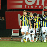 Fenerbahce's Moussa Sow (R) celebrate his goal with team mate during their Turkish Super League soccer match MP Antalyaspor between Fenerbahce at the Ataturk stadium in Antalya Turkey on Sunday 17 March 2013. Photo by TURKPIX