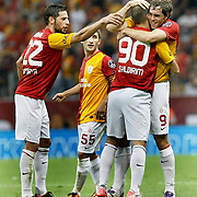 Galatasaray's Johan ELMANDER (R) celebrate his goal with team mate during their Turkish Super League soccer match Galatasaray between Samsunspor at the Turk Telekom Arena at Seyrantepe in Istanbul Turkey on Sunday, 18 September 2011. Photo by TURKPIX