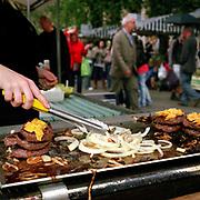 Burgers for sale at Edinburgh farmers market, Scotland