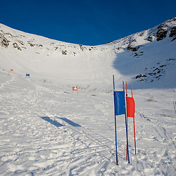 A ski race course set up in Left Gully in Tuckerman Ravine in New Hampshire's White Mountains. White Mountain National Forest. April.