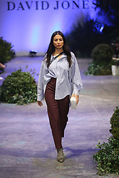 The spectacular runway show, held at Fox Studios starred international talent Karolina Kurakova, Anwar Hadid, Adut Akech and David Jones ambassadors, Jessica Gomes and Victoria Lee showcasing David Jones' exclusive range of Australian and International designers. 08 Aug 2018 Pictured: Jessica Gomes, model, Balenciaga, strip shirt, Tartan pant. Photo credit: Richard Milnes / MEGA TheMegaAgency.com +1 888 505 6342