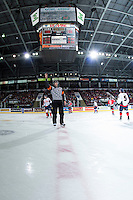 KELOWNA, CANADA - OCTOBER 31: The Referee stands at centre ice on October 31, 2015 at Prospera Place in Kelowna, British Columbia, Canada.  (Photo by Marissa Baecker/Shoot the Breeze)  *** Local Caption *** Referee; ice official;