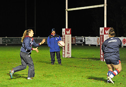 Bristol Ladies head coach Kim Oliver looks on during warm-up - Mandatory by-line: Paul Knight/JMP - 16/12/2017 - RUGBY - Cleve RFC - Bristol, England - Bristol Ladies v Worcester Valkyries - Tyrrells Premier 15s