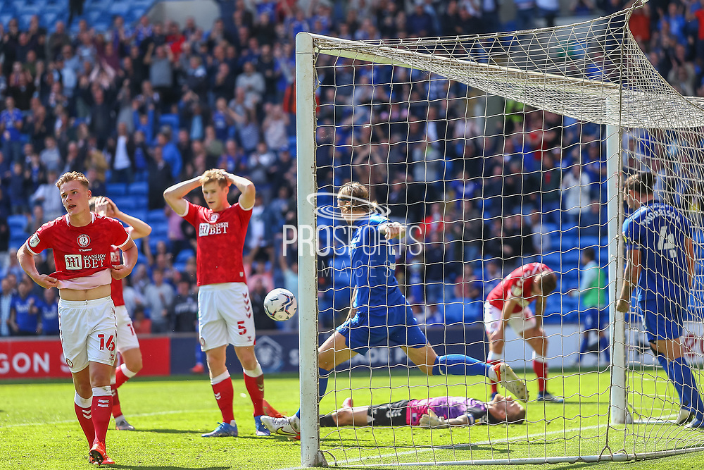 CELE Cardiff City defender Aden Flint (5) kicks the ball away to celebrate the equalising goal during the EFL Sky Bet Championship match between Cardiff City and Bristol City at the Cardiff City Stadium, Cardiff, Wales on 28 August 2021.