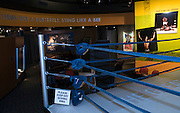 """Ali's """"Float like a butterfly, sting like a bee,"""" greets visitors as they walk downstairs to the fourth floor, Thursday, Jan. 11, 2012 at the Muhammad Ali Center in Louisville, Ky. (AP Photo/Brian Bohannon)"""