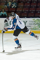 KELOWNA, CANADA, NOVEMBER 25: Jesse Ismond #18 of the Kootenay Ice takes a shot on net during warm up as the Kootenay Ice visit the Kelowna Rockets  on November 25, 2011 at Prospera Place in Kelowna, British Columbia, Canada (Photo by Marissa Baecker/Shoot the Breeze) *** Local Caption *** Jesse Ismond;