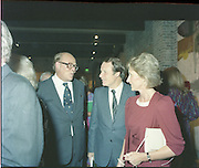 24/08/1984<br /> 08/24/1984<br /> 24 August 1984<br /> Opening of ROSC '84 at the Guinness Store House, Dublin. Lord Iveagh (left) chats with Minister of State for Arts and Culture Ted Nealon (centre) at the exhibition.