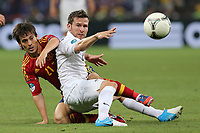 FOOTBALL - UEFA EURO 2012 - DONETSK - UKRAINE  - 1/4 FINAL - SPAIN v FRANCE - 23/06/2012 - PHOTO PHILIPPE LAURENSON /  DPPI - DAVID SILVA (ESP) / YOHAN CABAYE (FRA)