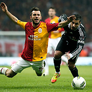 Galatasaray's Emre Colak (L) and Besiktas's Ricardo Quaresma (R) Action picture during their Turkish superleague soccer derby match Galatasaray between Besiktas at the TT Arena at Seyrantepe in Istanbul Turkey on Sunday, 26 February 2012. Photo by TURKPIX
