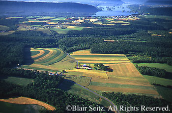 Southcentral Pennsylvania, Aerial Photographs, Farmlands and Forests, Cultivation and Contour Farming, Susquehanna River, Dauphin Co., PA