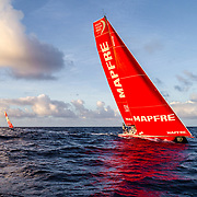 Leg 6 to Auckland, day 07 on board MAPFRE, drone shot at the sunset with DongFeng at the back. 13 February, 2018.