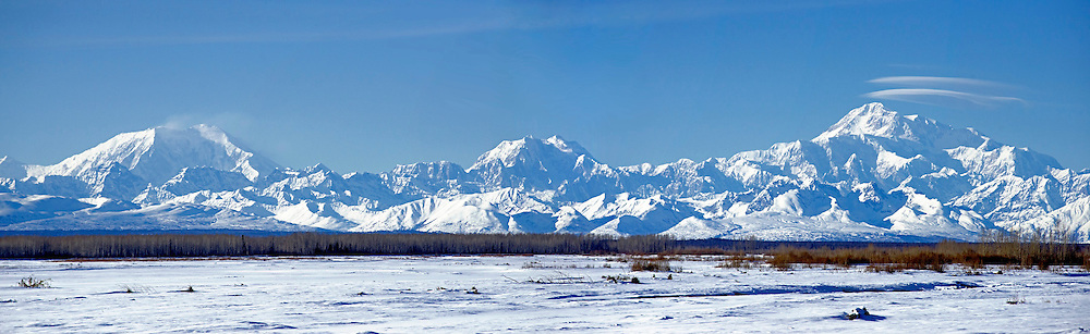 Alaska Range in Winter, Mt. McKinley (Denali) is on the right.