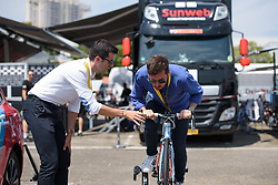 A VIP tries out the FDJ trainer at La Course High Speed Pursuit 2017 - a 22.5 km pursuit road race on July 22, 2017, in Marseille, France. (Photo by Sean Robinson/Velofocus.com)