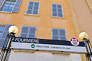 Metro sign in old town Vieux Lyon, France (UNESCO World Heritage Site)