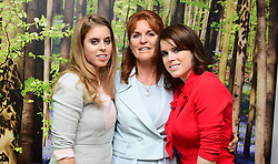 File photo dated 9/12/2016 of (left to right) Princess Beatrice, the Duchess of York and Princess Eugenie meet young cancer patients and their families at the Teenage Cancer Trust's young persons unit at University College Hospital, London. Sarah is the archetypal mother of the bride, a larger-than-life character prone to controversy, outspoken and fiercely loyal to her family.