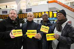 January 2, 2018 - Birmingham, West Midlands, UK - Rail Fares Protests. Birmingham New Street Station early this morning. Pictured, members of the Birmingham Rail Branch protesting at the station. (Credit Image: © Credit: Dave Warren/London News Pictures via ZUMA Wire)