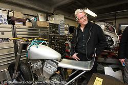 Harley-Davidson head of design Ray Drea at Keiji Kawakita's Hot Dock Custom Cycles. Tokyo, Japan. Wednesday, December 10, 2014. Photograph ©2014 Michael Lichter.