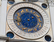 St Mark's Clock is housed in the Clock Tower on the Piazza San Marco in Venice, Italy