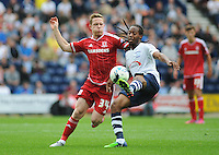 Middlesbrough's Adam Forshaw vies for possession with Preston North End's Daniel Johnson<br /> <br /> Photographer Kevin Barnes/CameraSport<br /> <br /> Football - The Football League Sky Bet Championship - Preston North End v Middlesbrough -  Sunday 9th August 2015 - Deepdale - Preston<br /> <br /> © CameraSport - 43 Linden Ave. Countesthorpe. Leicester. England. LE8 5PG - Tel: +44 (0) 116 277 4147 - admin@camerasport.com - www.camerasport.com