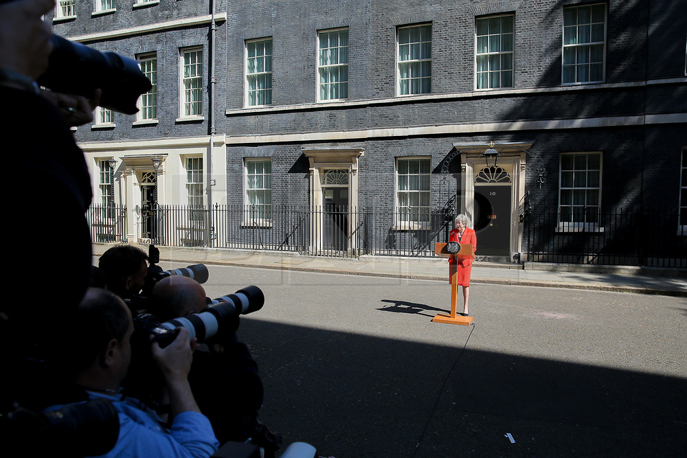 © Licensed to London News Pictures. 24/05/2019. London, UK. British Prime Minister Theresa May makes a statement in Downing Street after meeting Graham Brady, the chair of 1922 committee. Theresa May will resigns as Prime Minister and the leader of the Conservative Party on 7 June 2019. Photo credit: Dinendra Haria/LNP