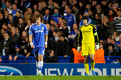 Chelsea Defender David Luiz (BRA) and Goalkeeper Petr Cech (CZE) look dejected after Basel score their second goal during the second half of the match - Photo mandatory by-line: Rogan Thomson/JMP - Tel: 07966 386802 - 18/09/2013 - SPORT - FOOTBALL - Stamford Bridge, London - Chelsea v FC Basel - UEFA Champions League Group E