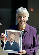 Garden City, New York, U.S. November 14, 2019. MICHELE MASON, of Manhattan, holds photo of Apollo 10 Commander Lt. Gen. Thomas Stafford at the 17th Annual Cradle of Aviation Museum Air and Space Gala. Stafford sent Mason the photo when she wrote to him once he was inducted to NASA class of 1962 astronauts.