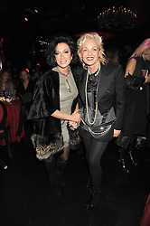 Left to right, NANCY DELL'OLIO and AMANDA ELIASCH at a party to celebrate the publication of Cloak & Dagger Butterfly by Amanda Eliasch held at the Soho Revue Bar, London on 17th November 2008.