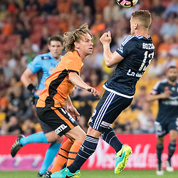BRISBANE, AUSTRALIA - OCTOBER 7: Oliver Bozanic of the Victory heads the ball during the round 1 Hyundai A-League match between the Brisbane Roar and Melbourne Victory at Suncorp Stadium on October 7, 2016 in Brisbane, Australia. (Photo by Patrick Kearney/Brisbane Roar)