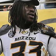 ORLANDO, FL - JANUARY 01:  MVP Markus Golden #33 of the Missouri Tigers celebrates on the field after winning the Buffalo Wild Wings Citrus Bowl between the Minnesota Golden Gophers and the Missouri Tigers at the Florida Citrus Bowl on January 1, 2015 in Orlando, Florida. (Photo by Alex Menendez/Getty Images) *** Local Caption *** Markus Golden