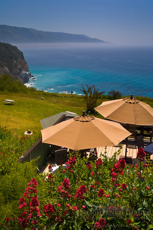 Overlooking the rugged hills and ocean from deck at the Lucia Lodge, Big Sur Coast, Monterey County, California Overlooking the rugged hills and ocean from deck at the Lucia Lodge, Big Sur Coast, Monterey County, California