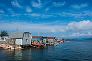 Little fishing huts in the harbour of  Corner Brook, New Foundland, Canada