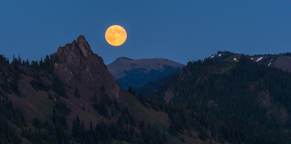 Full moon rises above Steeple Rock, twilight, August, telephoto view from Hurricane Ridge, Olympic National Park, Clallam County, Washington, USA