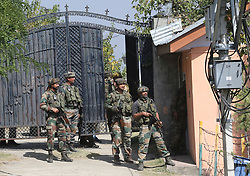 October 3, 2017 - Indian army troopers stand guard near the site of a gunfight inside India's Border Security Force (BSF) camp in Srinagar, summer capital of Indian-controlled Kashmir. An Indian border guard and two militants were killed, while as three others and a policeman were wounded Tuesday in a predawn militant attack on India's Border Security Force (BSF) camp in restive Indian-controlled Kashmir, police said. (Credit Image: © Javed Dar/Xinhua via ZUMA Wire)