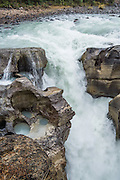 Lower Sunwapta Falls, in Jasper National Park, Canadian Rockies, Alberta, Canada. Jasper is the largest national park in the Canadian Rocky Mountain Parks World Heritage Site declared by UNESCO in 1984.