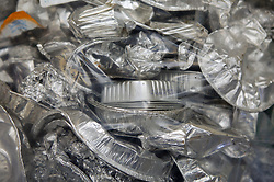 Bales of foil trays ready to be recycled,