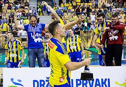 Luka Zvizej, Branko Tamse of Celje celebrate as National Champions 2017 during trophy ceremony after handball match between RK Celje Pivovarna Lasko and RK Gorenje Velenje in Last Round of 1. Liga NLB 2016/17, on June 2, 2017 in Arena Zlatorog, Celje, Slovenia. Photo by Vid Ponikvar / Sportida
