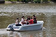 Locals are seen dining on small river cruise boats on The Yarra during the COVID-19 in Melbourne. With over a week of zero cases in Victoria, Premier Daniel Andrews is expected to make major announcements on Sunday about further easing of restrictions. (Photo by Dave Hewison/Speed Media)