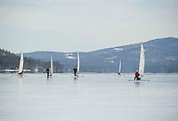 Ice Sailing on Lake Winnipesaukee with the New England Ice Yacht Association.   Karen Bobotas for the Laconia Daily Sun