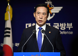 29 July 2017 - Seoul, South Korea :(In this photo handout provided by South Korea Defense Ministry) South Korean Defense Minister Song Young-moo, speaks during a press conference at the Defense Ministry in Seoul, South Korea on July 29, 2017. North Korea on Friday test-fired its second intercontinental ballistic missile, which flew longer and higher than the first according to its wary neighbors, leading analysts to conclude that a wide swath of the U.S., including Los Angeles and Chicago, is now within range of Pyongyang's weapons.Photo Credit: South Korea Defense Ministry/Handout *** Please Use Credit from Credit Field ***
